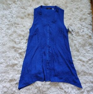 Fylo blue button up tank sz S